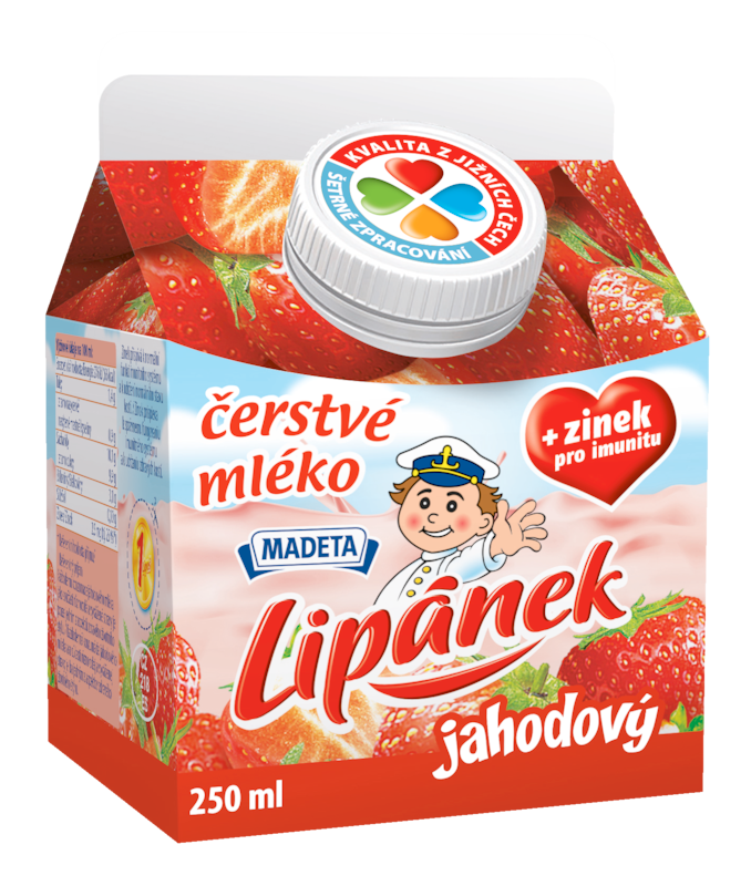 Značka čerstvé mléko Lipánek jahodový