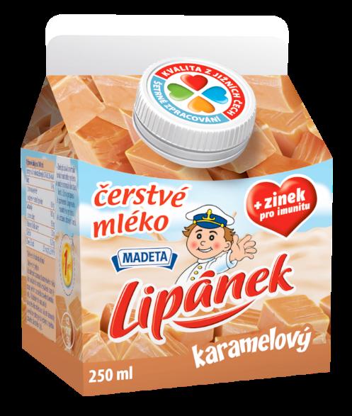 Značka čerstvé mléko Lipánek karamelový