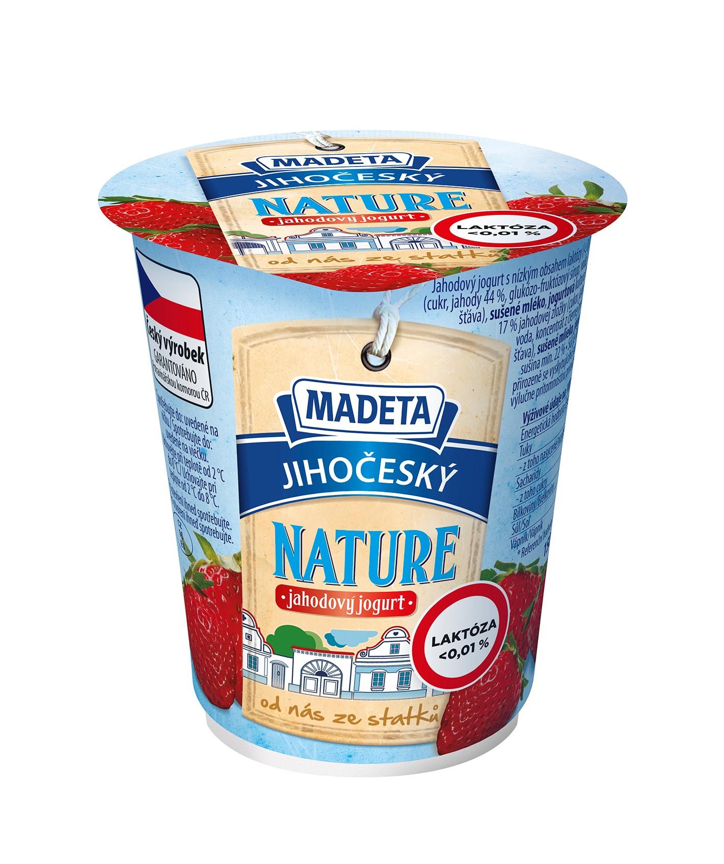 Značka Jihočeský jogurt nature jahodový s nízkým obsahem laktózy