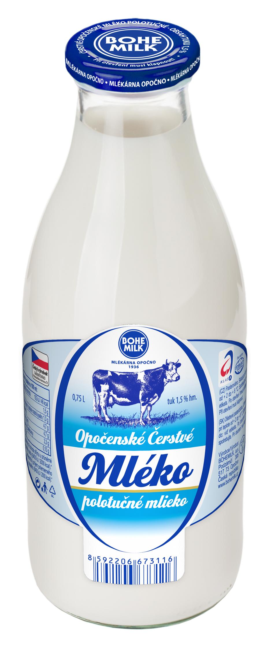 Značka Opočenské čerstvé mléko_polotučné, 750 ml