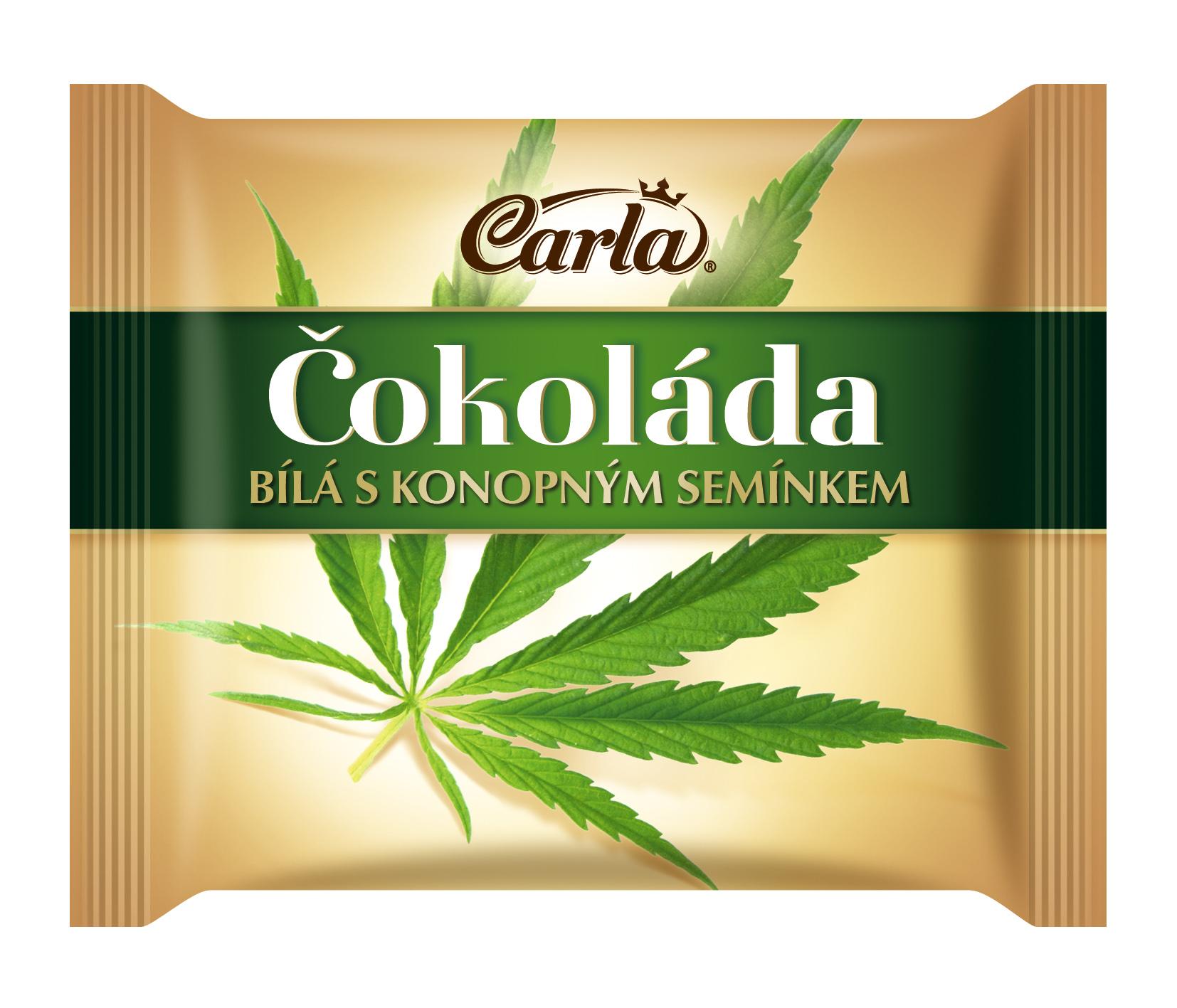 Značka Čokoláda bílá s konopným semínkem